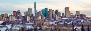 Snowy downtown Edmonton